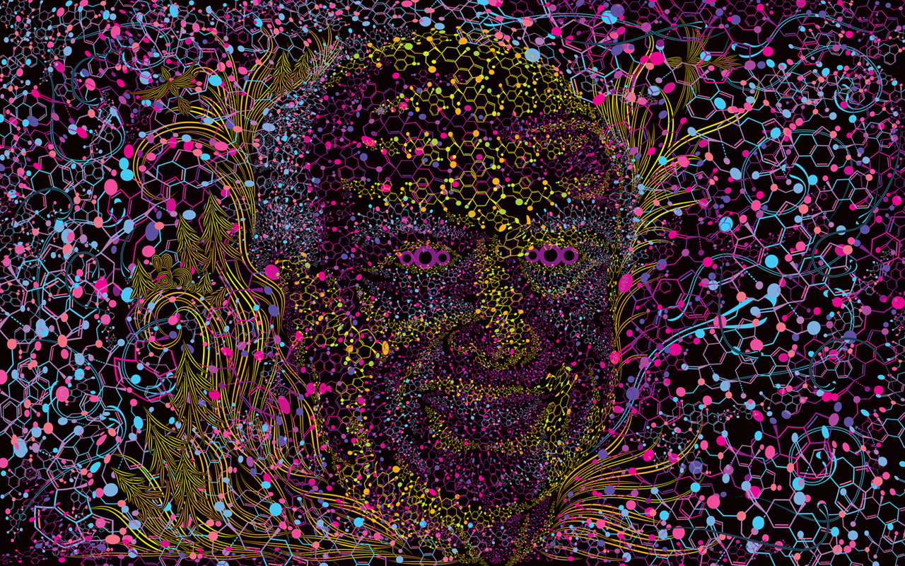 Albert Hofmann Portrait Psychedelic Fluorescent Backdrop