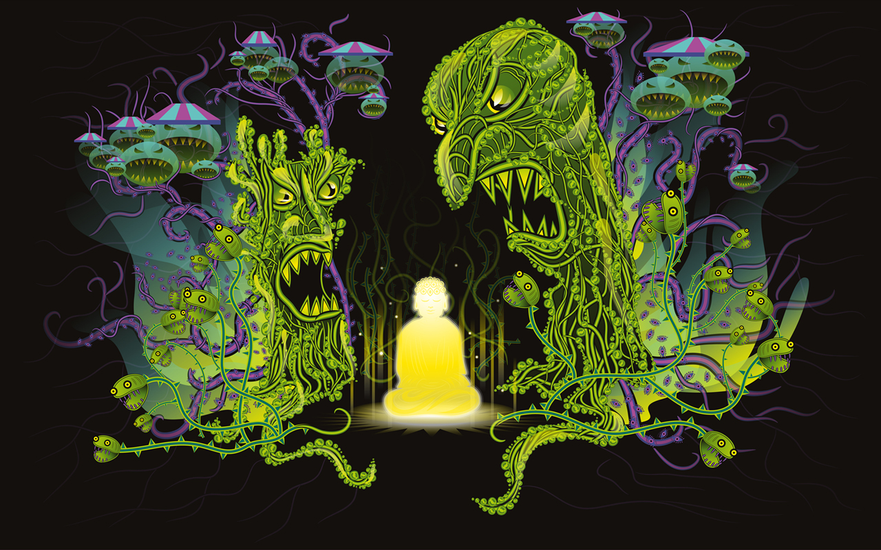 Scary Forest Meditation free psychedelic wallpaper by Andrei Verner