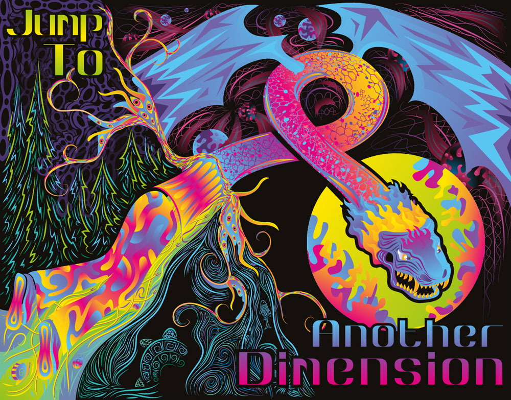 Jump to another dimension - psychedelic album cover