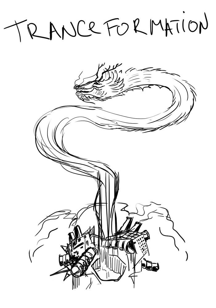 Tranceformation psychedelic party flyer sketch