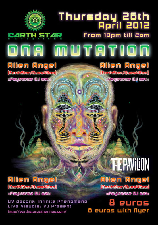 DNA mutation psychedelic party poster tutorial step 12