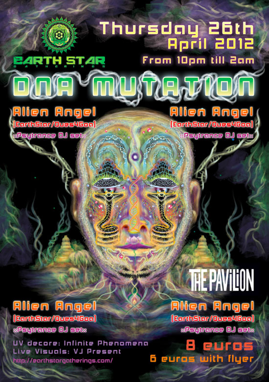 DNA mutation psychedelic party poster tutorial step 14