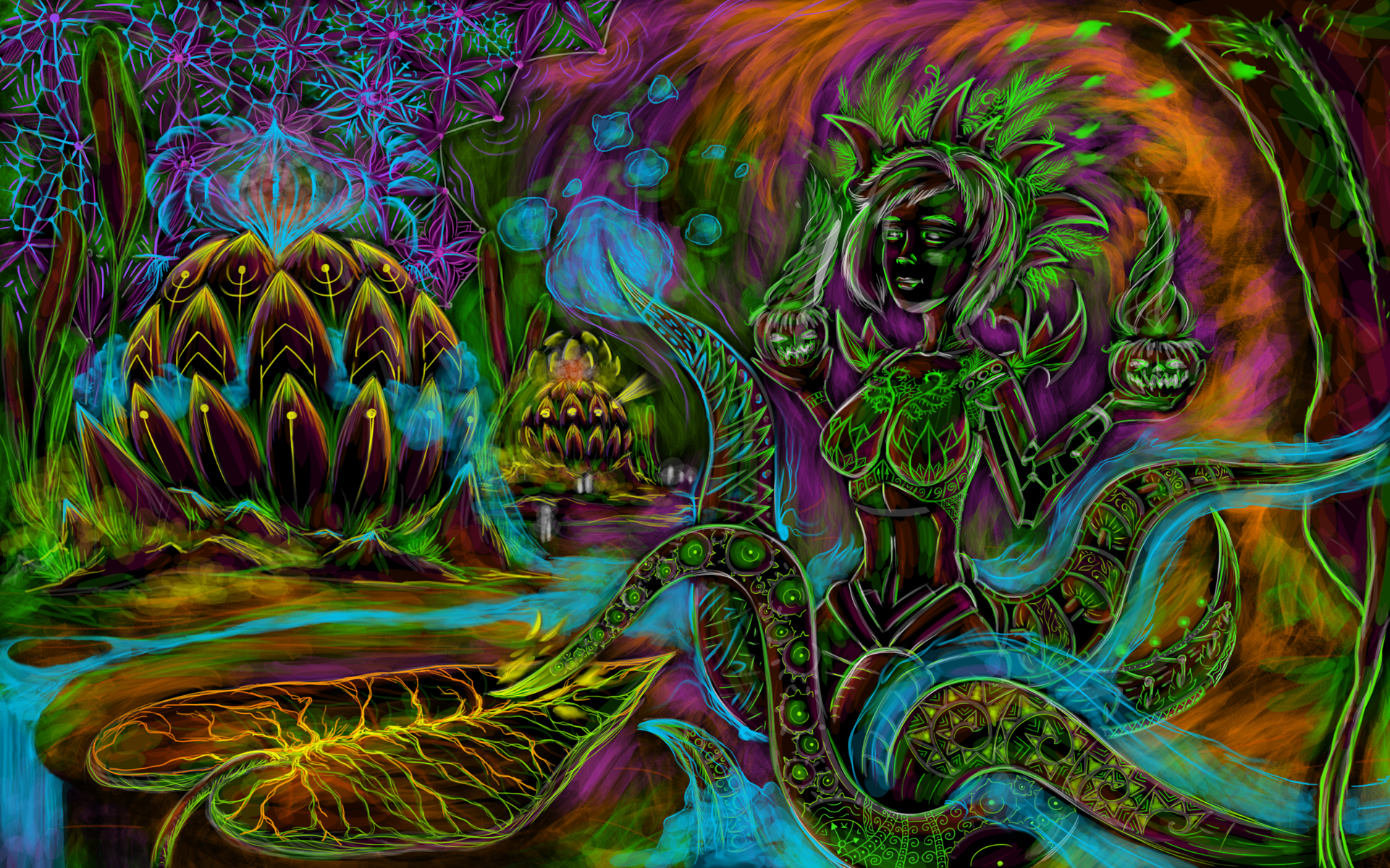 Cyber octopus free psychedelic art wallpaper andrei verner - Mushroom 3d wallpaper free download ...