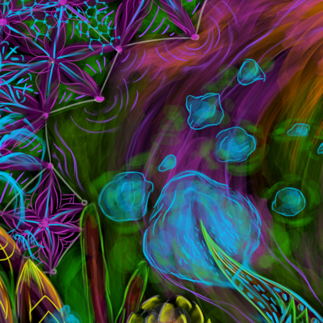 Cyber octopus - free psychedelic art wallpaper close up by Andrei Verner