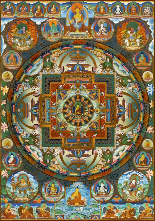 Buddha mandala - Traditional Tibetan Thangka by Romio Shrestha
