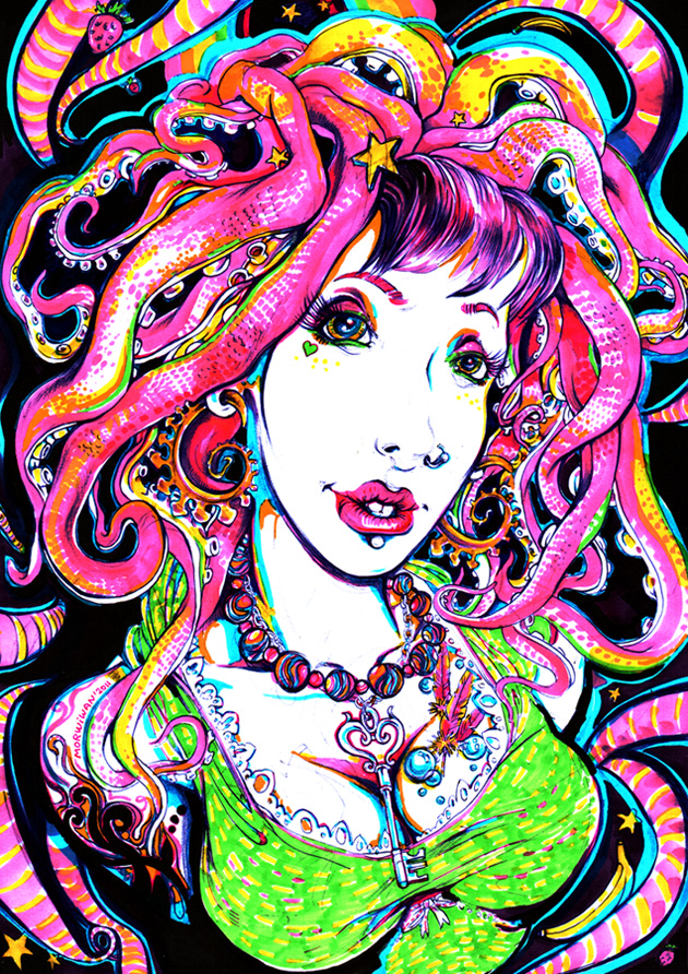 Chimera Porno Vurt traditional psychedelic drawing by Limbic Splitter