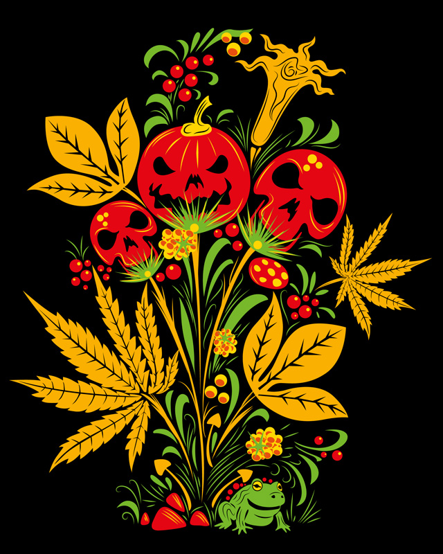 Halloween Khokhloma free psychedelic art stock by Andrei Verner