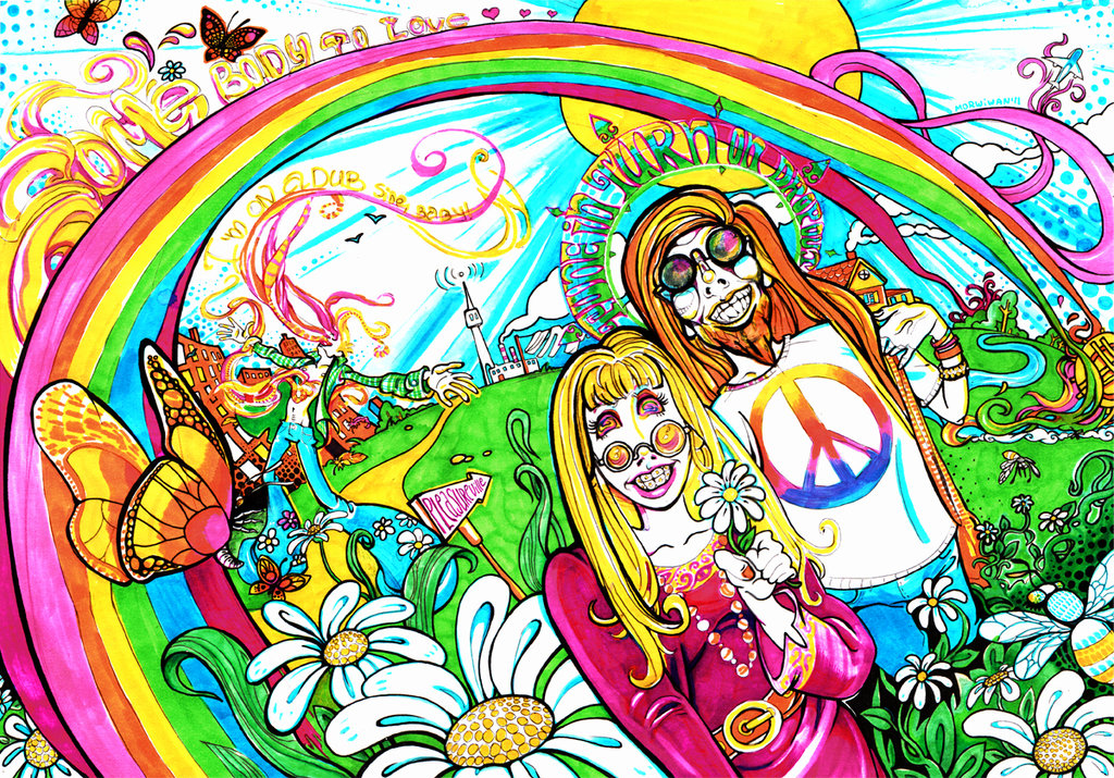 Pleasureville traditional psychedelic drawing by Limbic Splitter