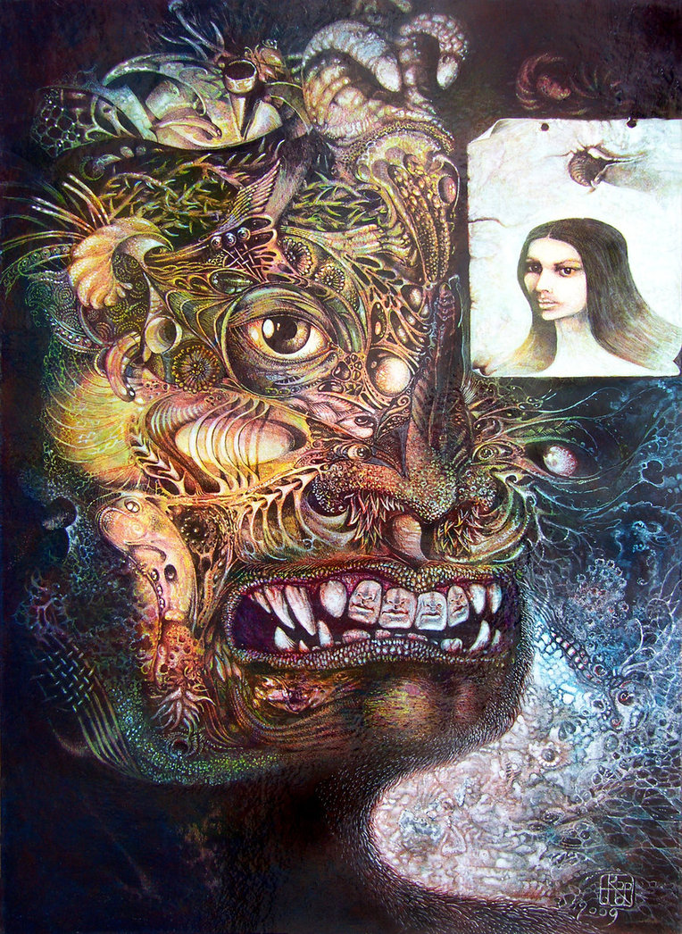 The Beast of Babylon Revisited - visionary painting by Otto Rapp