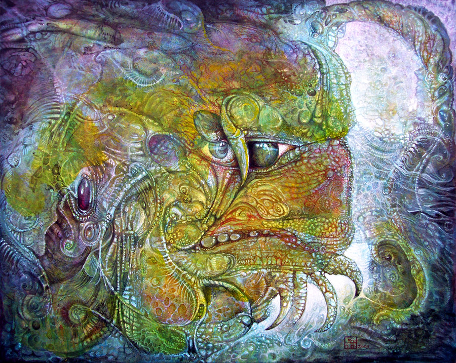 Offspring of tiamat - visionary painting by Otto Rapp