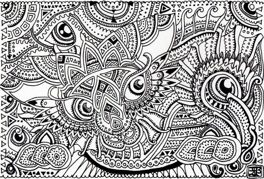 Wild cat - trippy doodles by Lutamesta