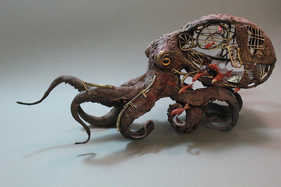 Octopus with fish by Ellen June