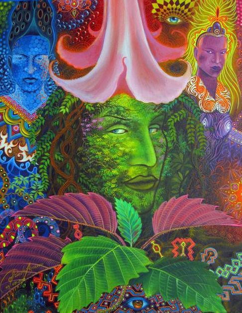 Ayahuasca psychedelic art by Felix Pinchi Aguirre