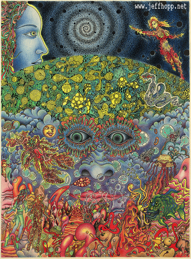 Eyes of the mind - traditional psychedelic drawing by Jeff Hopp