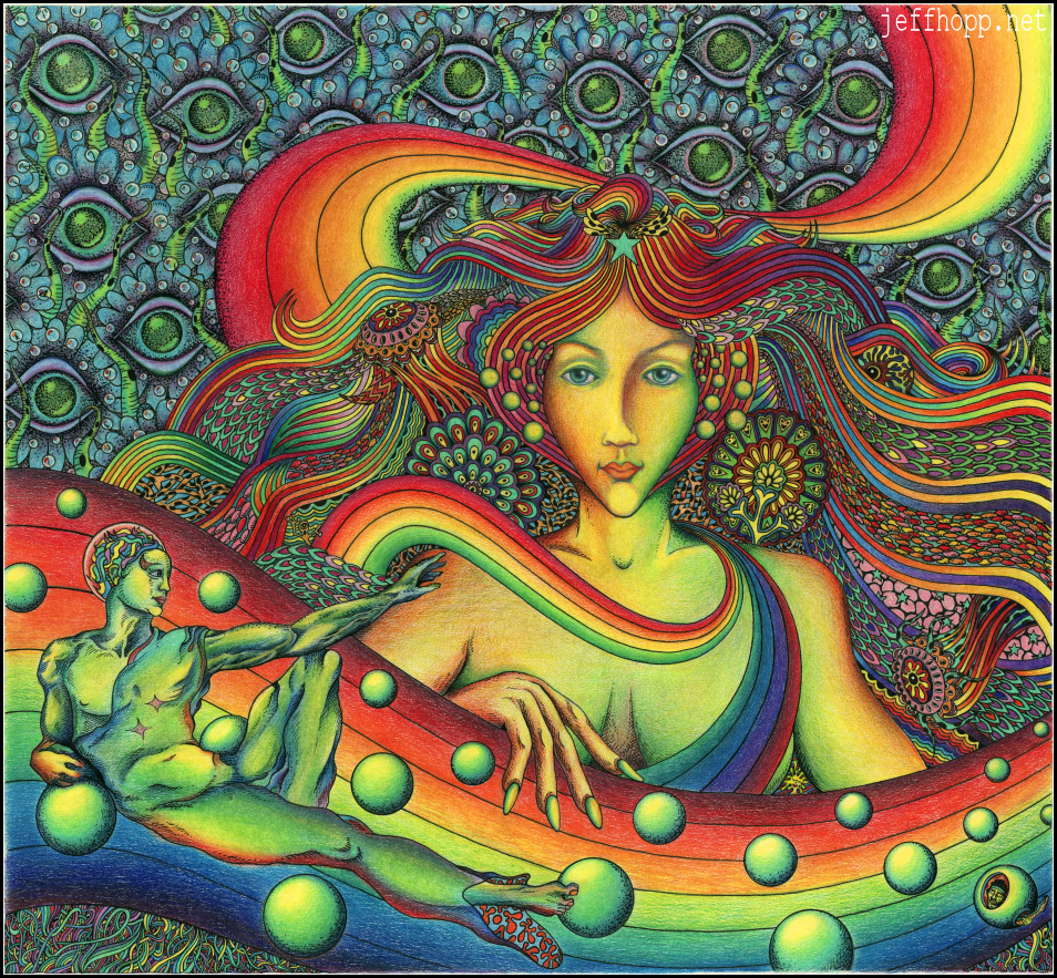 Rainbow Queen - traditional psychedelic drawing by Jeff Hopp