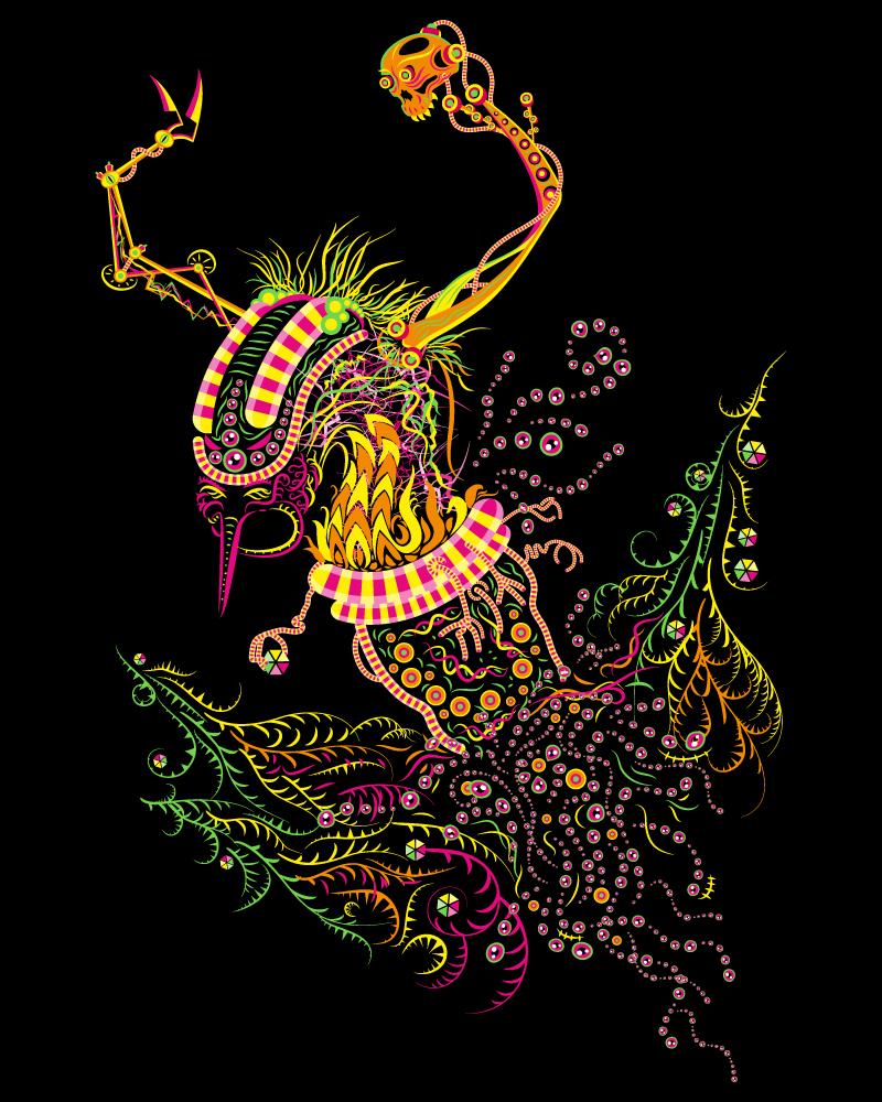 Cyborg Baba Yaga Psychedelic Fluorescent Man's T-shirt