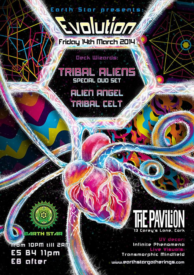 Evolution psychedelic trance party flyer art and design by Andrei Verner