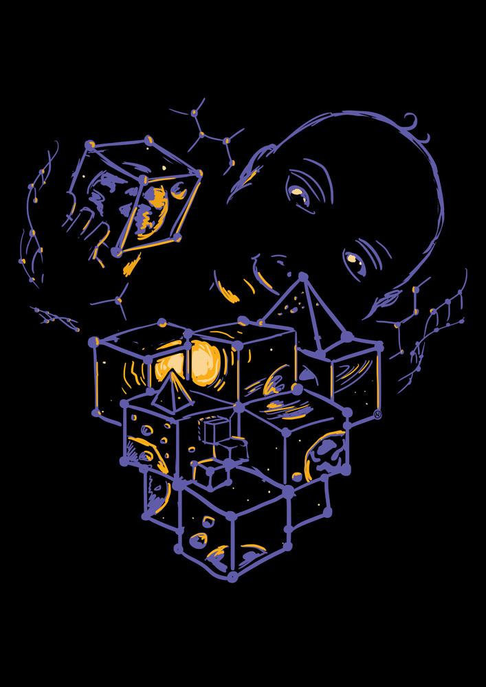 Macrocosmos and microcosmos t-shirt sketch by Andrei Verner