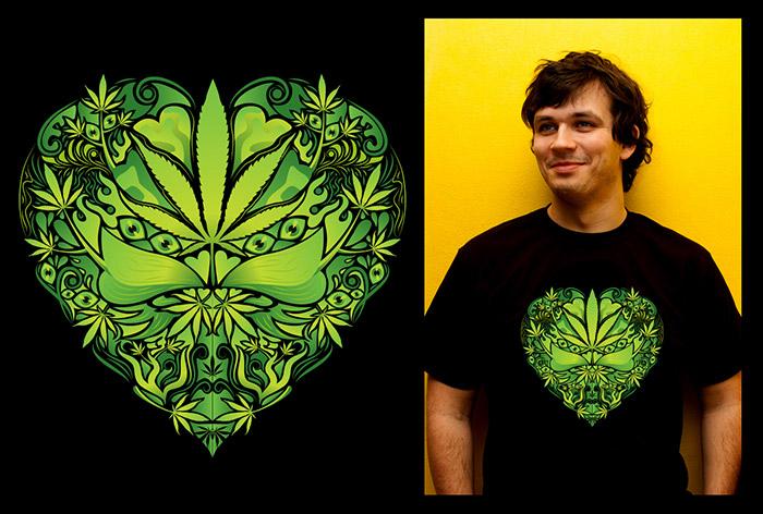 Marijuana Love Green color man's psychedelic t-shirt