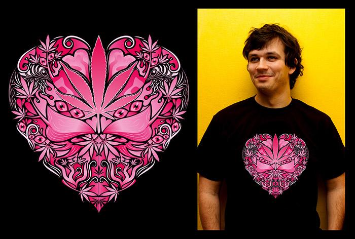 Marijuana Love Pink color man's psychedelic t-shirt
