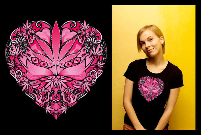 Marijuana Love Pink color woman's psychedelic t-shirt
