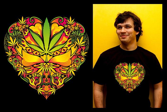 Marijuana Love Rasta color man's psychedelic t-shirt