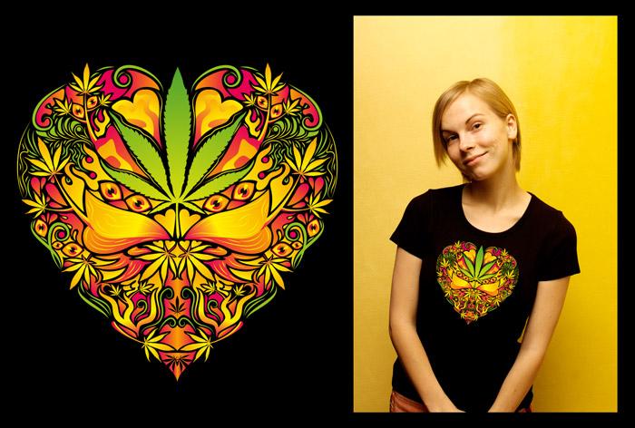 Marijuana Love Rasta color woman's psychedelic t-shirt