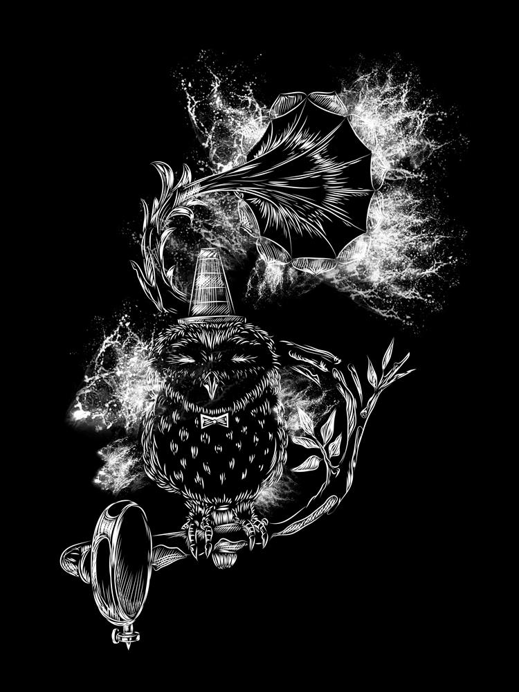 Owl drawing digital doodle