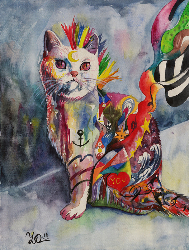 Psychedelic watercolour paintings by Sasha-Drug