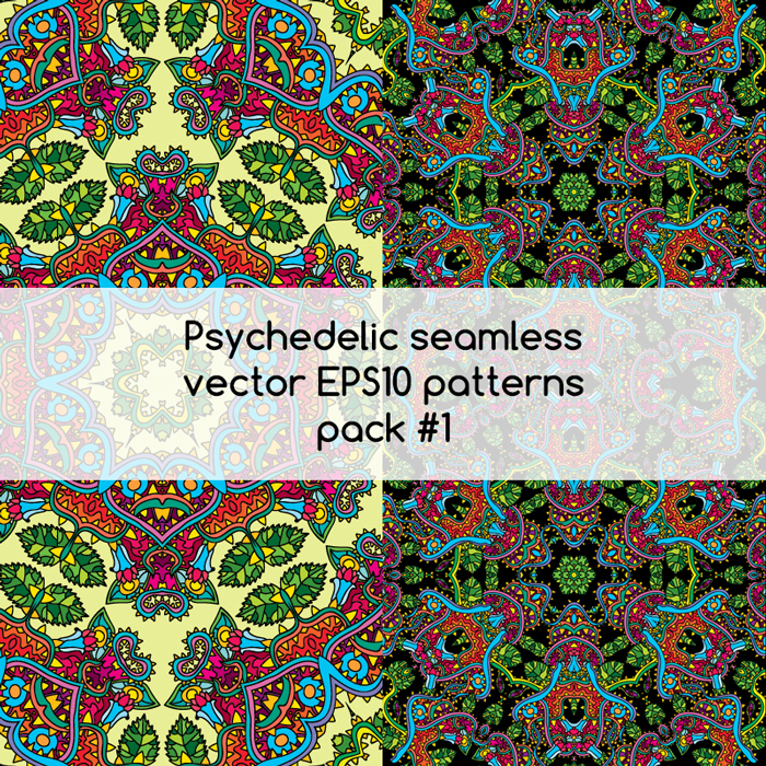 Psychedelic seamless vector EPS 10 patterns pack #1 part 3