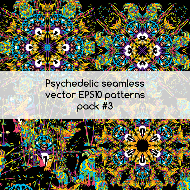 Psychedelic seamless vector EPS 10 patterns pack #3 part 1