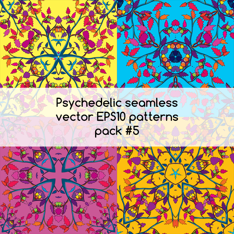 Psychedelic seamless vector EPS 10 patterns pack #5 part 1