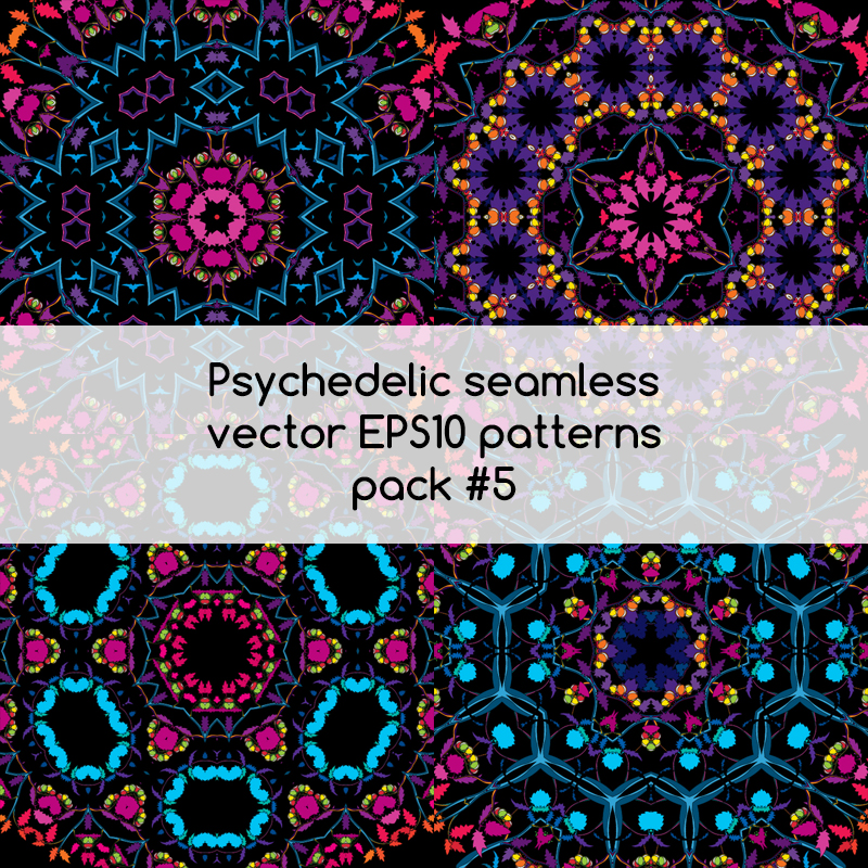 Psychedelic seamless vector EPS 10 patterns pack #5 part 2