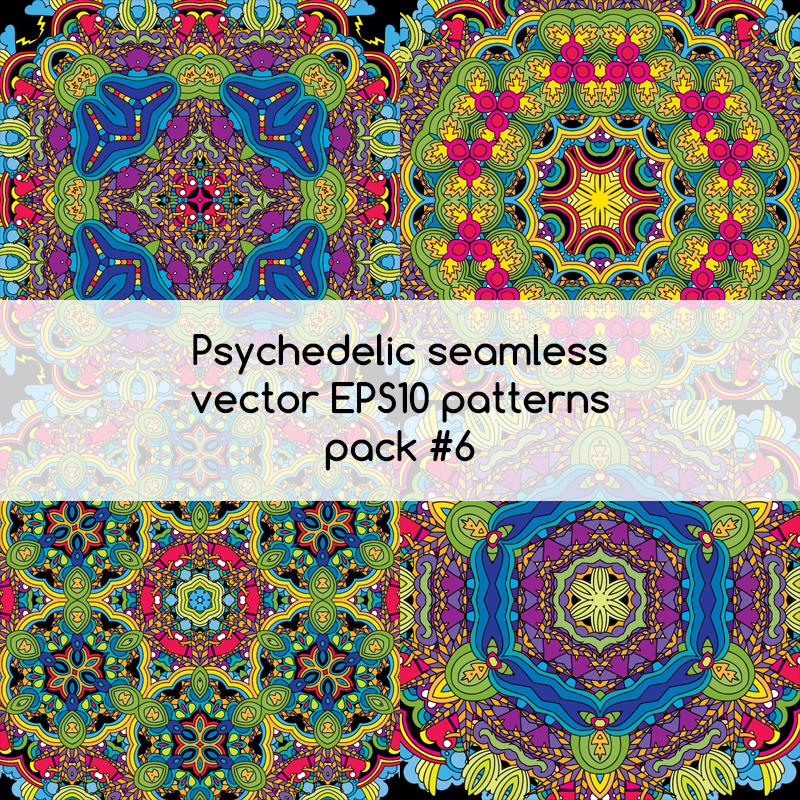 Psychedelic seamless vector EPS 10 patterns pack #5 part 3
