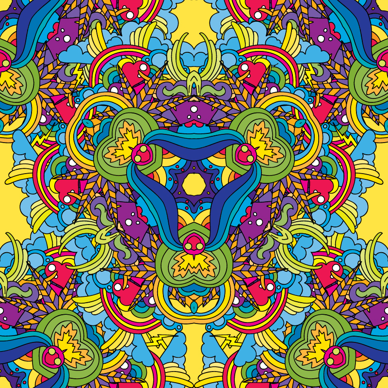 Psychedelic Valentine's Day vector freebie seamless pattern