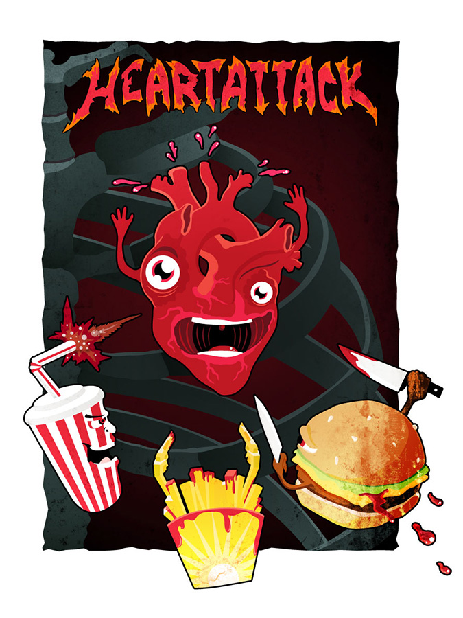Heart attack t-shirt design by Andrei Verner
