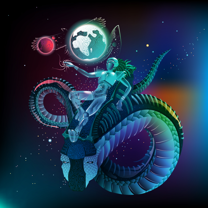 Space traveler psychedelic fluorescent backdrop artwork by Andrei Verner
