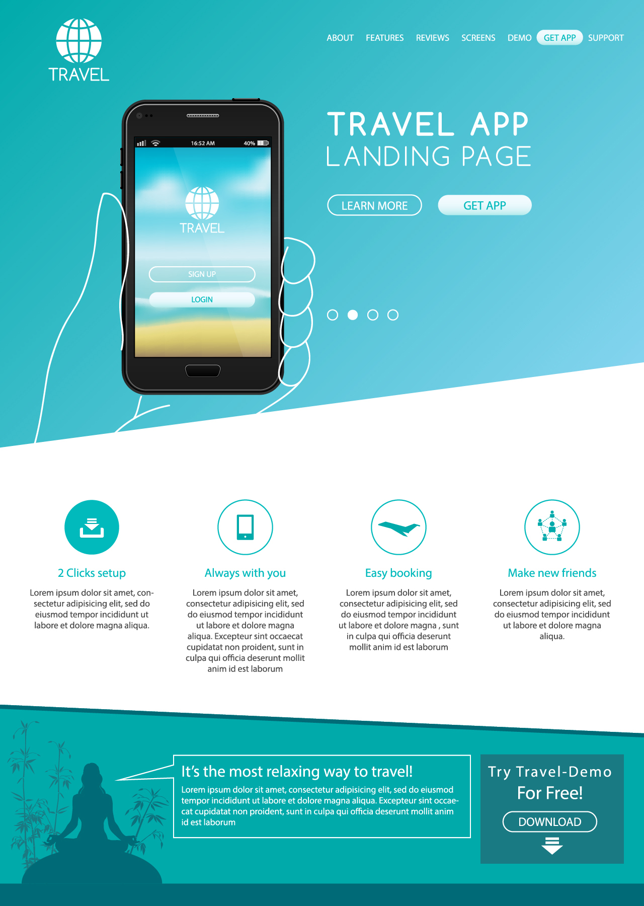 Website landing page mockup layout by Andrei Verner