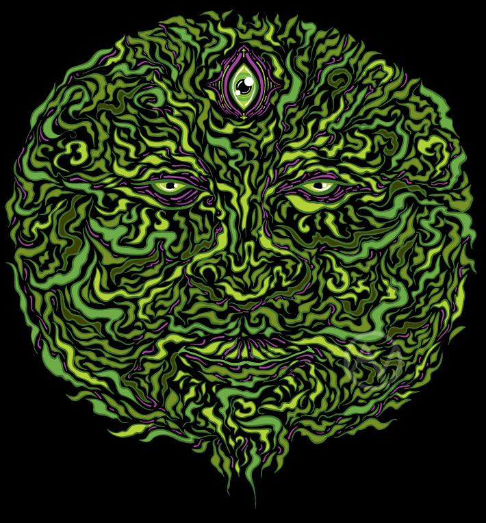 Wise Green Puer psychedelic design by Andrei Verner