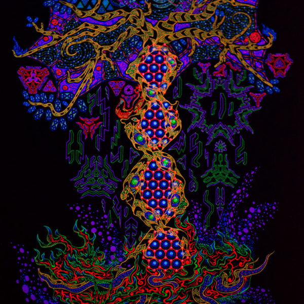 Psychedelic Yggdrasil the Tree of Life Fluorescent UV Backdrop
