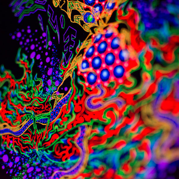 Psychedelic Yggdrasil the Tree of Life Fluorescent UV Backdrop Detail