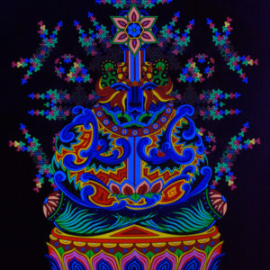 Bear Meditation Psychedelic Fluorescent Backdrop