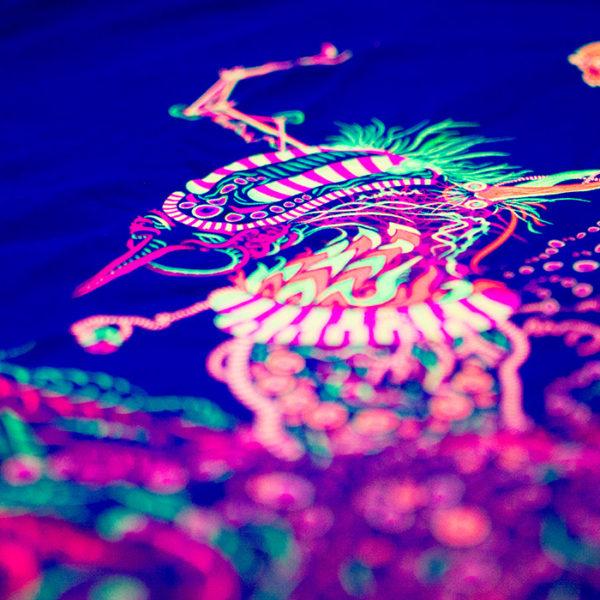 Cyborg Baba Yaga Psychedelic Fluorescent T-Shirt Print