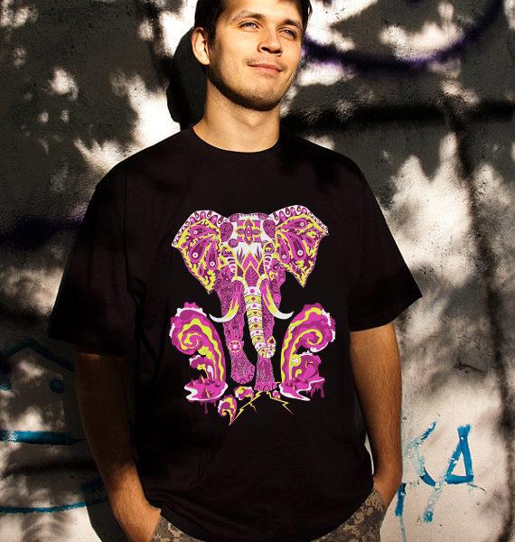 Apocalypse Elephant Psychedelic Man's T-shirt