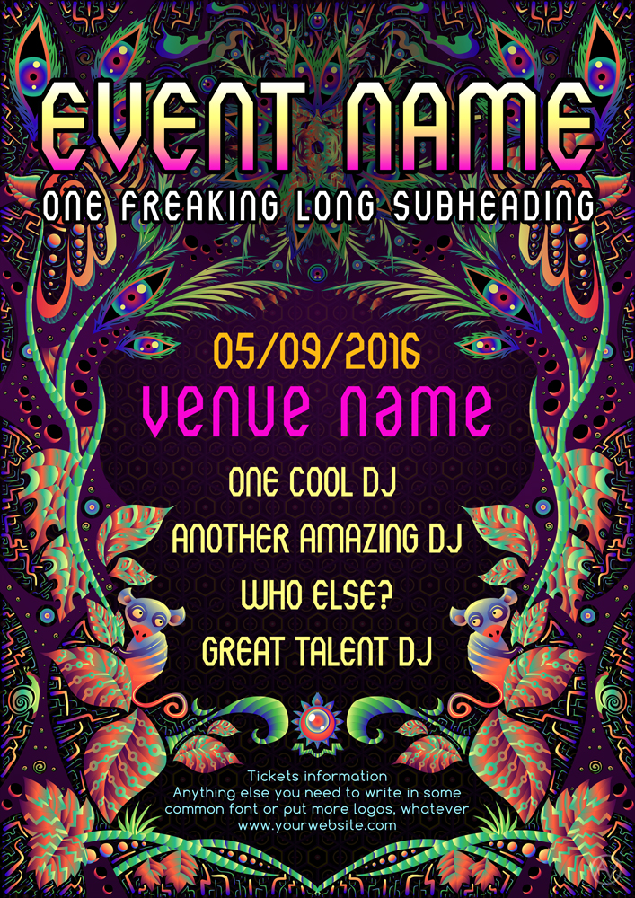 Free Psychedelic Jungle Party Flyer Template by Andrei Verner