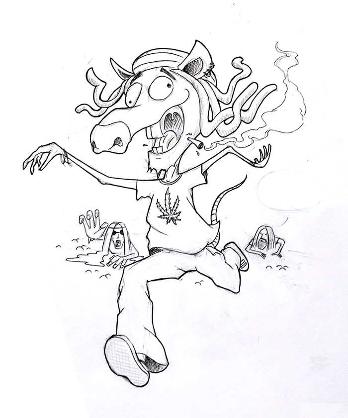 Rastaman Mousey tale T-shirt design - final sketch