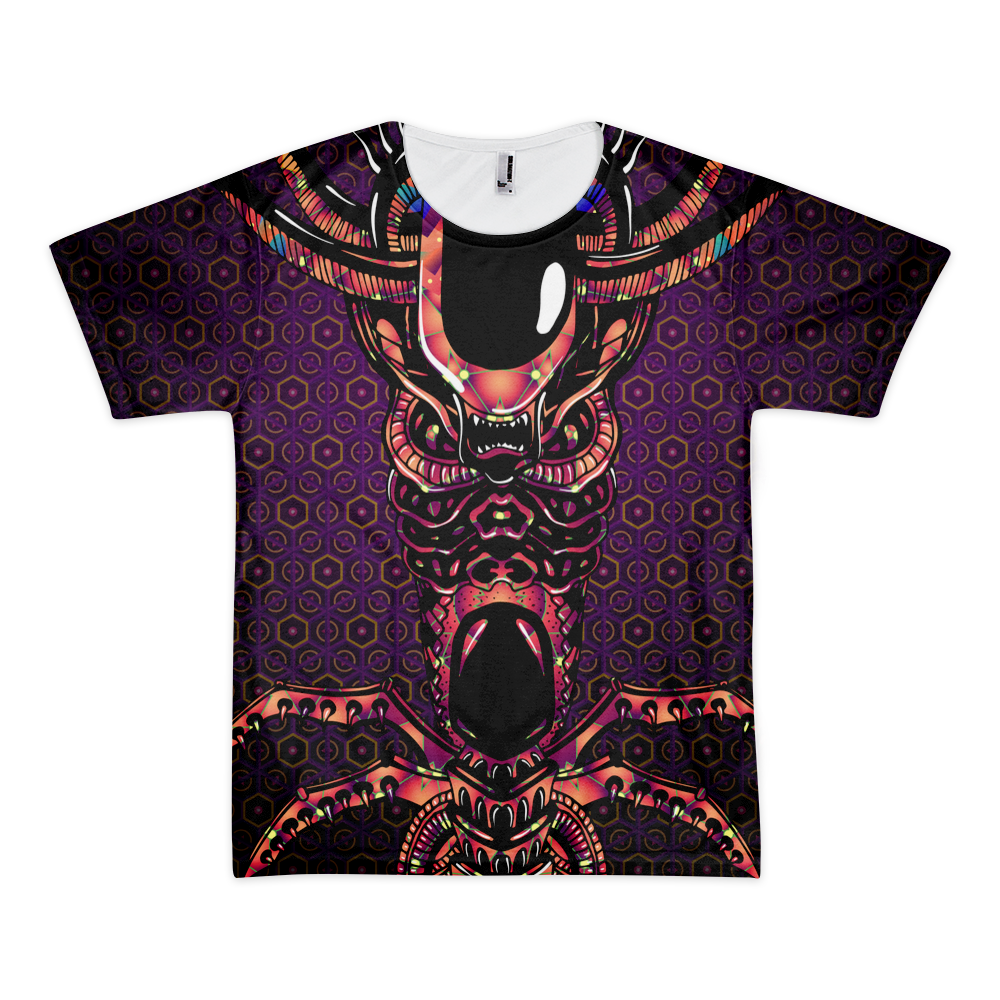 Alien Totem - Psychedelic T-shirt design by Andrei Verner - all over print T-shirt