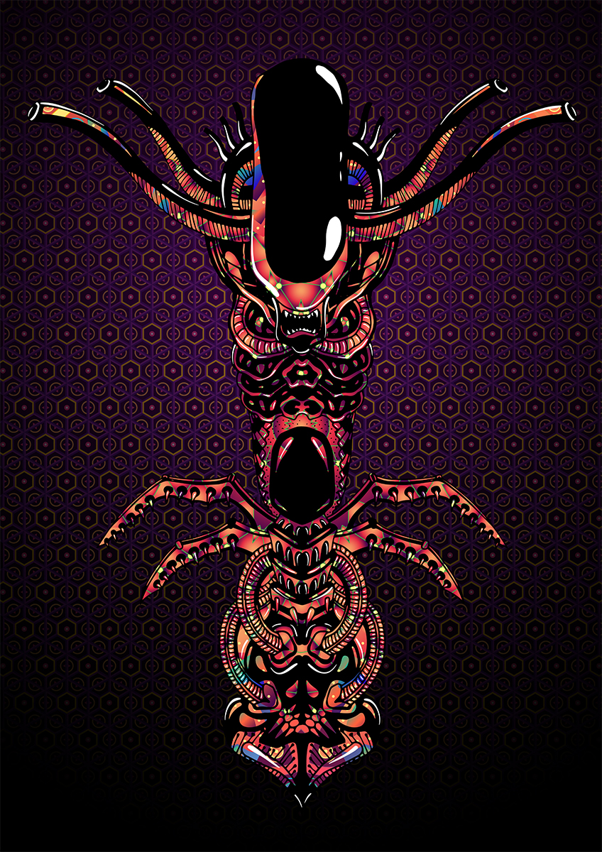 Alien Totem - Psychedelic T-shirt design by Andrei Verner - all over print design