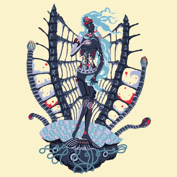 Rebirth of Cyber Venus psychedelic T-shirt Design - Cream background