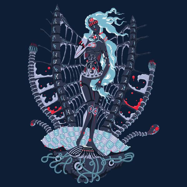 Rebirth of Cyber Venus psychedelic T-shirt Design - Dark blue background